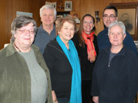Left to right: Founding Meeting of the Association Maison Doucet Hennesy House Association, Patsy Hennessy, Rod O'Connel, Rolande Doucet-O'Connel, Melynda Jarratt, Michael Hennessy, Halldis Wesenberg, January 18, 2010..