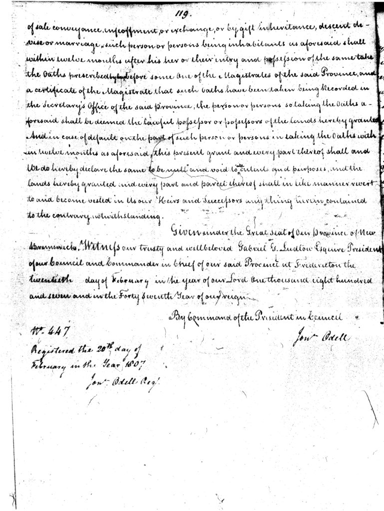 1807 Land Grant from King George III