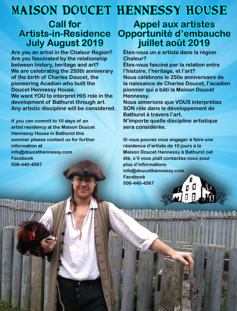 Call for Artists-in-Residence July August 2019 / Appel aux artistes Opportunité d'embauche juillet août 2019